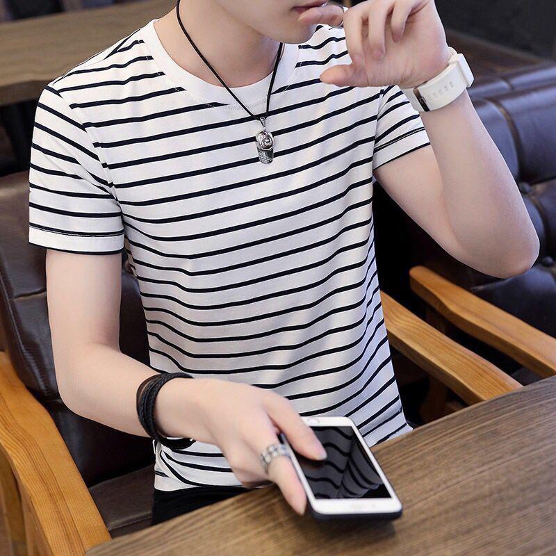 Europe station 2020 summer striped mulberry silk round neck trend half sleeve bottomed cotton wool t-shirt mens short sleeve trend