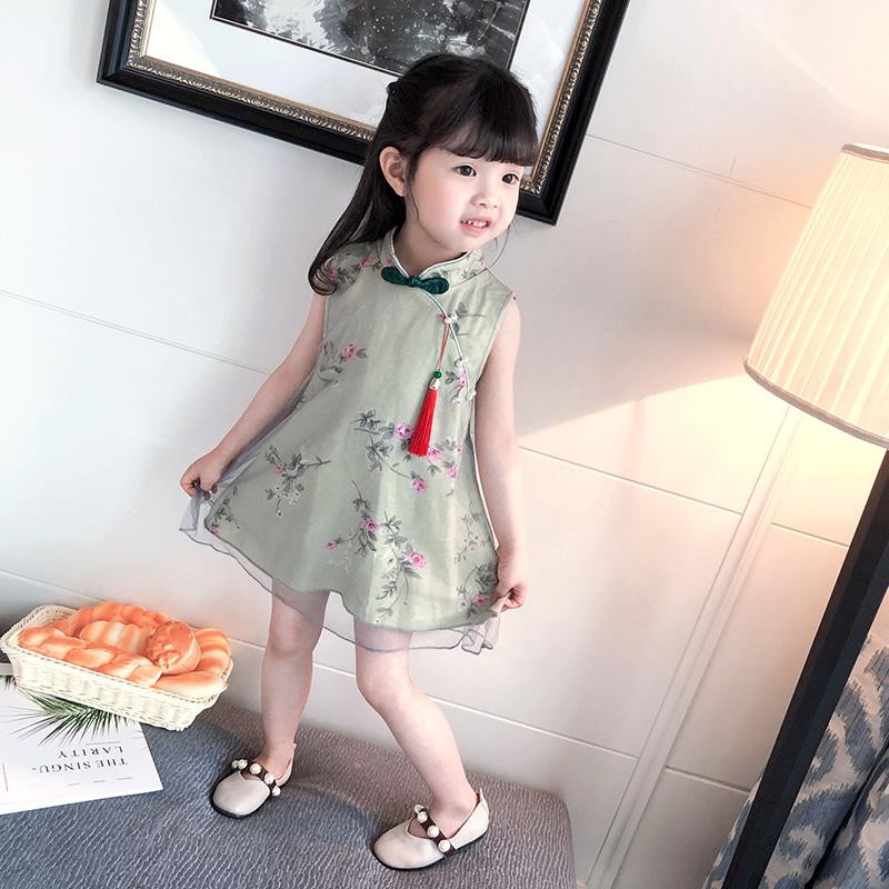 女童旗袍夏中国风2女宝宝公主裙改良3夏季4儿童礼服5岁古装连衣裙