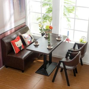 奶茶甜品店沙发桌椅组合西餐厅咖啡厅靠背铁艺椅子复古洽谈餐桌椅