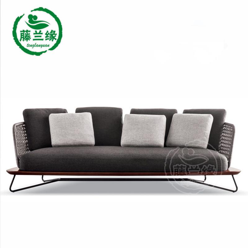 户外藤沙发编绳藤椅沙发家具露台沙发休闲椅阳台样板房设计师沙发