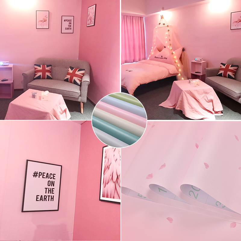 少女心房间布置墙贴装饰品防水粉色墙纸自粘卧室温馨女孩贴纸壁纸