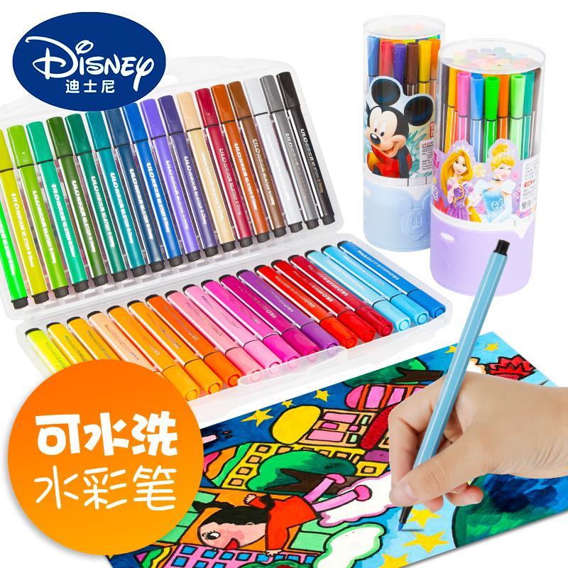 迪士尼水彩笔套装无毒可水洗彩色笔初学者手绘绘画画笔安全儿童幼儿园小学生用宝宝涂鸦颜色12色24色36色48色