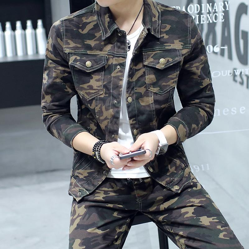 Spring new mens clothing Korean version of mens camouflage suit slim jacket coat casual wear jeans suit mens trend