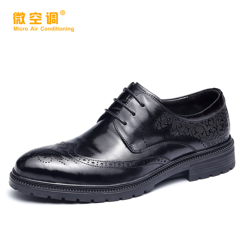 Micro air conditioning leather shoes mens new British block carved mens leather breathable business dress Derby shoes with soft soles