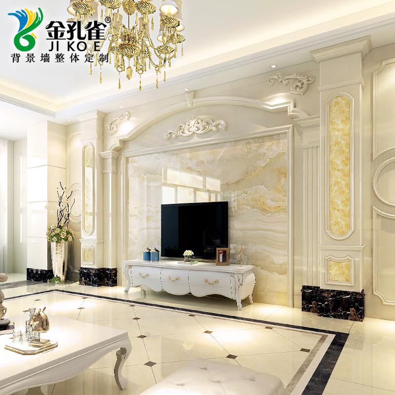 套餐大理石电视背景墙瓷砖欧式客厅石材罗马柱装饰现代简约微晶石