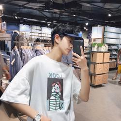男短袖T恤2019夏季港风圆领宽潮流松印花情侣短袖T恤男DT016#P38