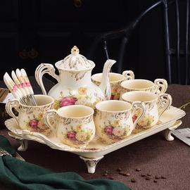 水杯套装陶瓷家用客厅水具杯子欧式耐热杯具带托盘茶杯茶具套装图片