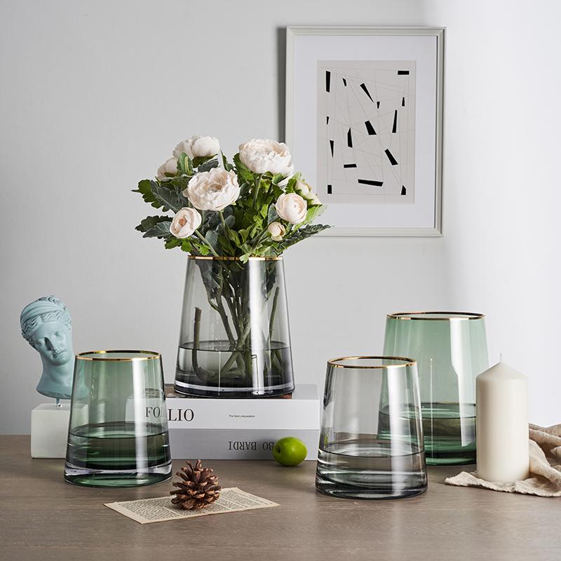 亦恩 北欧金边人工吹制型彩色玻璃花瓶水培花器酒店装饰居家摆件