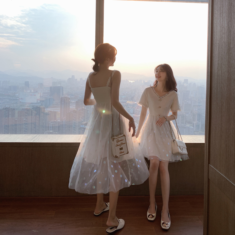 白色吊带连衣裙2019新款夏季波点网纱闺蜜装很仙的法国小众仙女裙