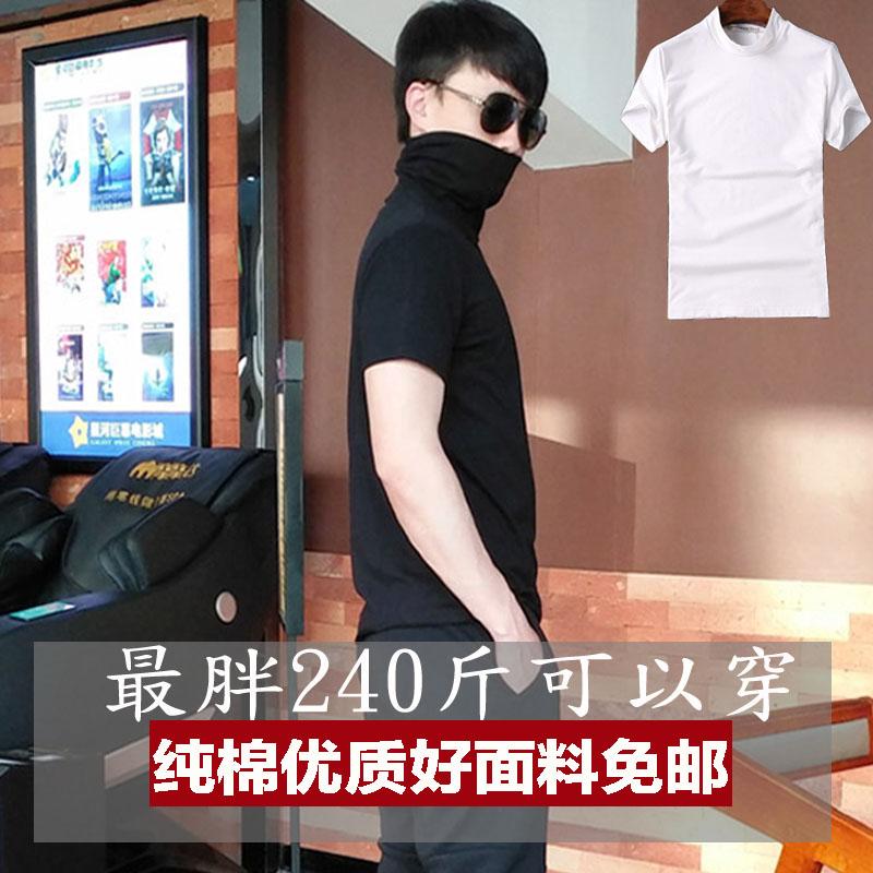2019新款高领短袖个性男装打底衫(非品牌)