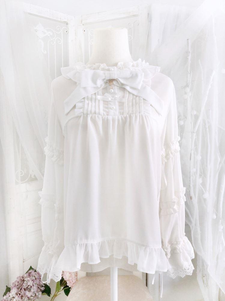 Small cream Lolita Lo with Bubble Sleeve Chiffon bottom shirt top [bow tie detachable]