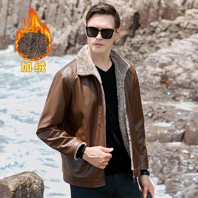 Mens leather jacket autumn and winter thickened warm leather jacket Plush fashion slim fit handsome mens casual motorcycle clothes