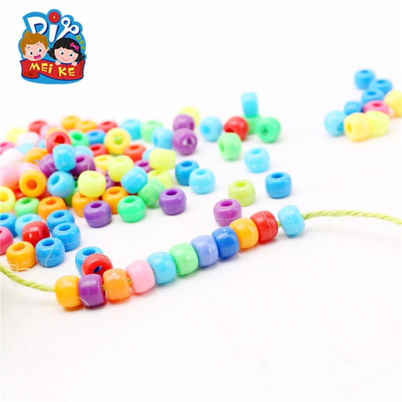 彩色混装塑料珠子手工DIY制作材料 彩色塑料串珠新品