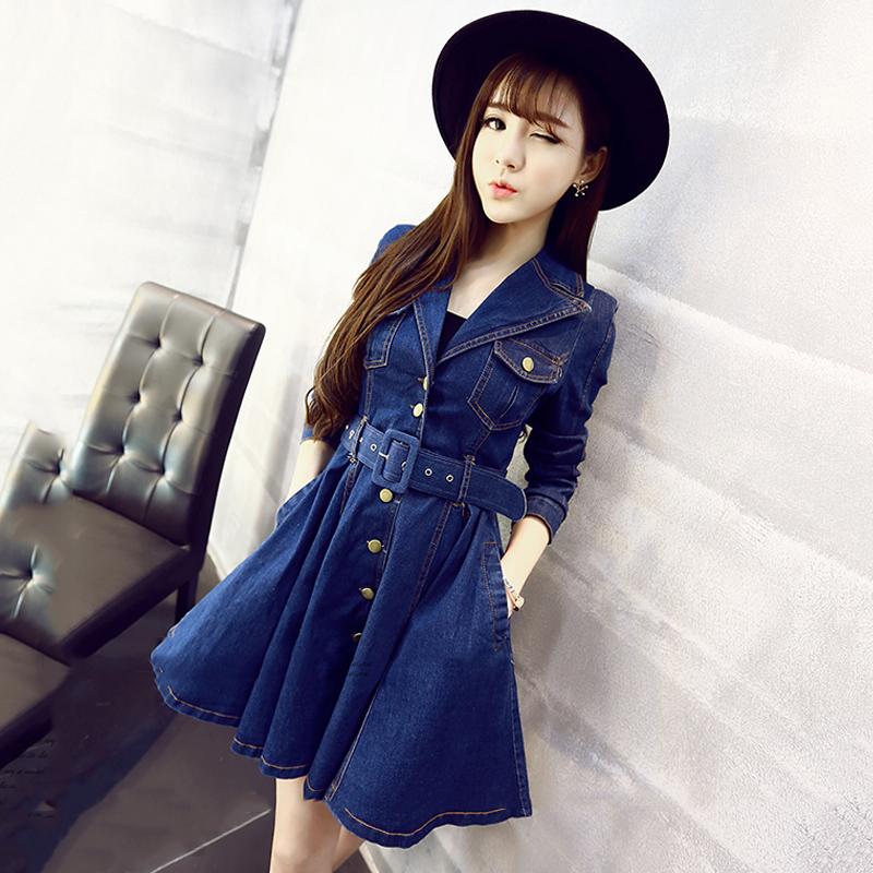 2018 spring and Autumn New Korean fashion versatile suit collar skirt swing waist show thin long sleeve denim dress fashion