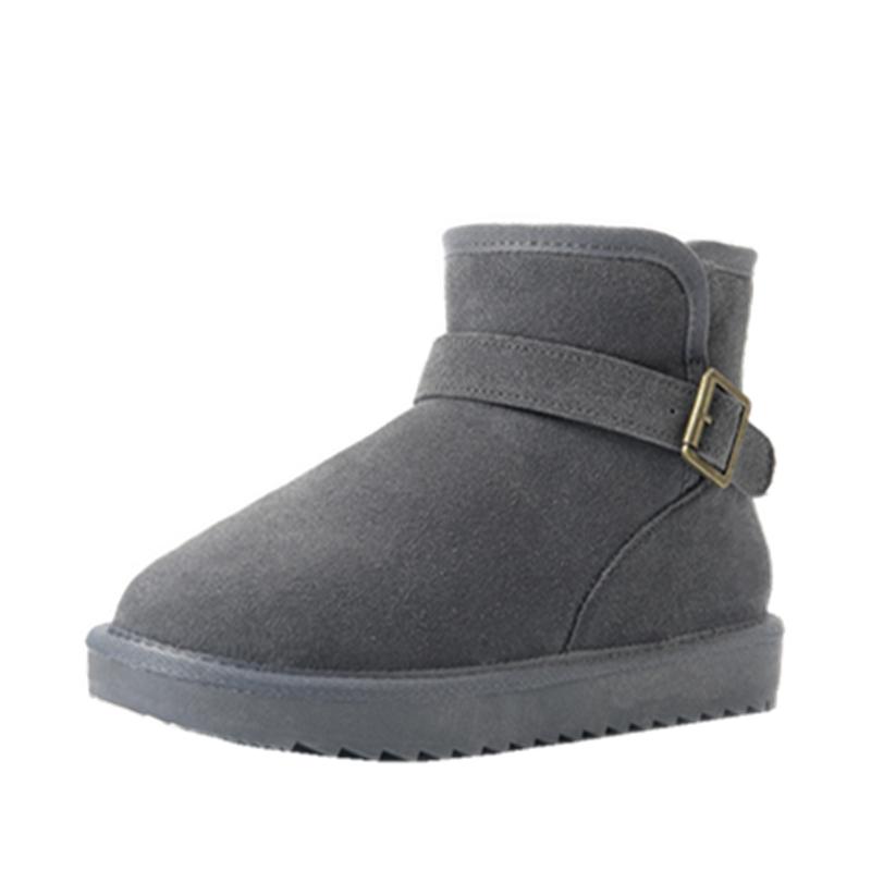 雪地靴女短筒内增高学生冬季棉鞋百搭保暖加绒厚底搭扣韩版面包鞋