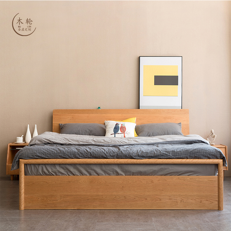 Cherry double bed simple modern solid oak storage bed black walnut drawer storage bed cherry bed