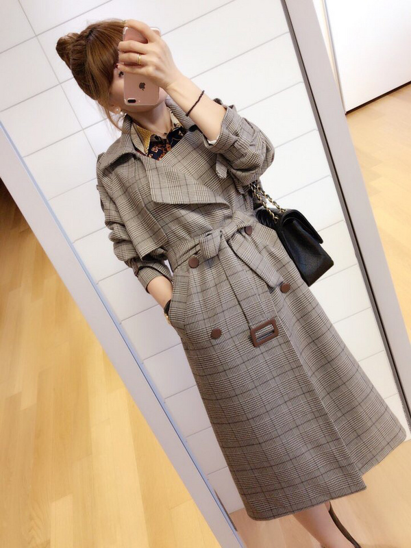 2017 winter new double breasted medium and long plaid coat womens windbreaker British thickened tweed loose and thin