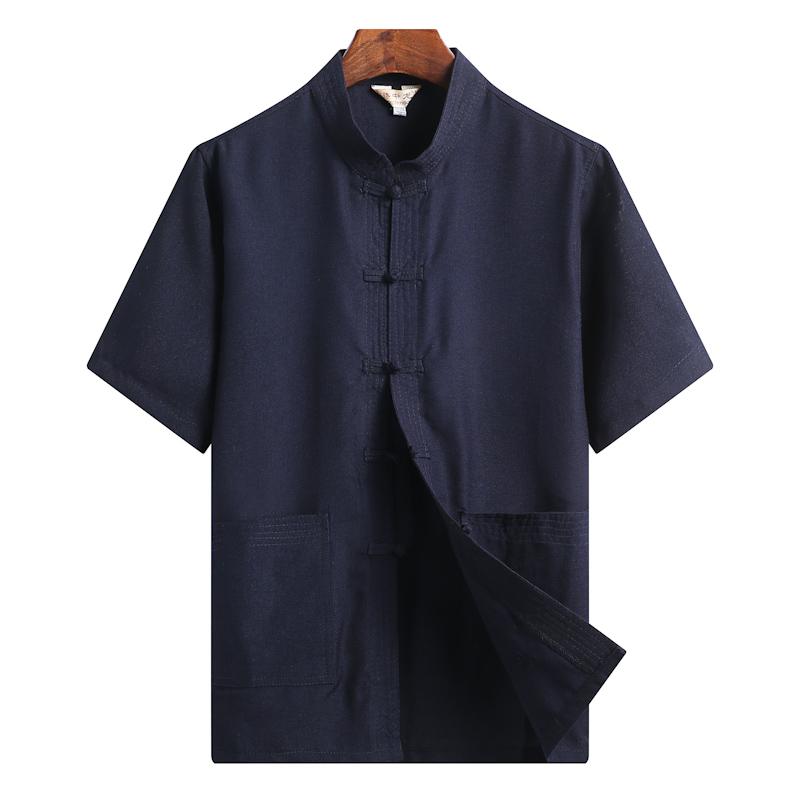 夏天棉麻唐装男短袖太极汉服装衬衫