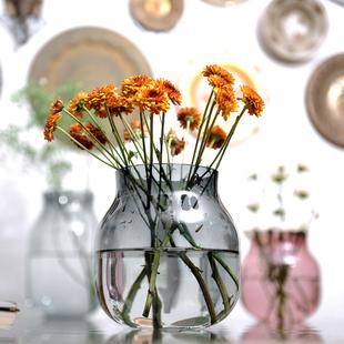 优惠手作彩色玻璃花瓶 北欧风空气花插R8摆设干花富贵竹百合玻璃