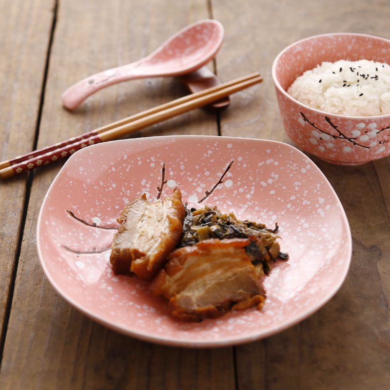 天天特价 日式雪花四方形碟菜盘陶瓷釉下彩水果沙拉盘子家用餐具