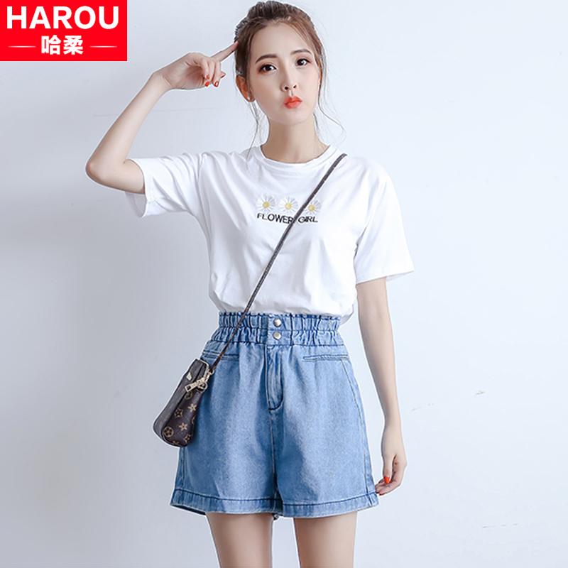 2018新款夏季少女小清新短袖T恤 韩版牛仔裤两件套装初中高中学生
