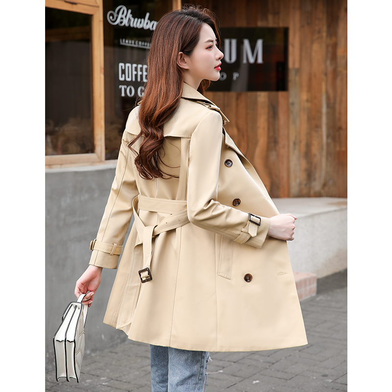 2020 new autumn / winter medium length womens windbreaker British style small person temperament slim fit Khaki double breasted coat