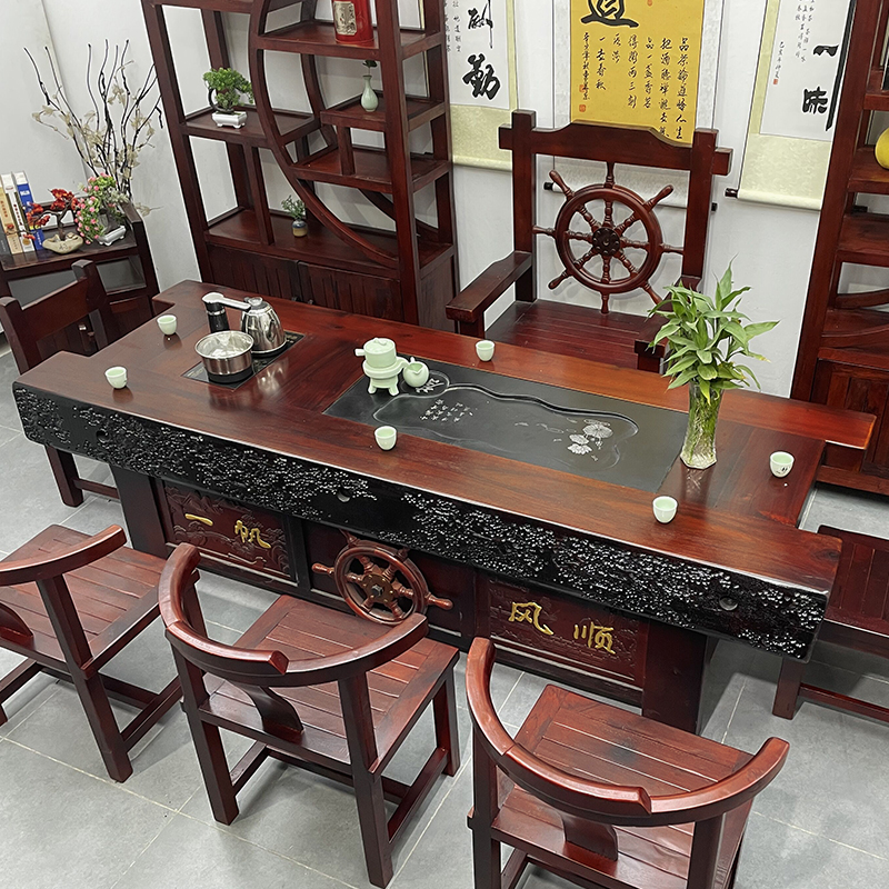 Old ship wooden tea table and chair combination new Chinese household tea making table solid wood Kung Fu tea table tea table 1m 8 set