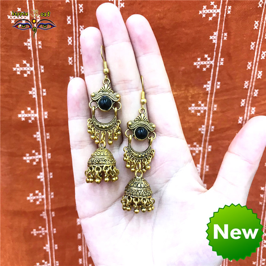 Nepal retro national style earrings double side with diamond ancient golden birdcage make old tribal style Thai Indian style