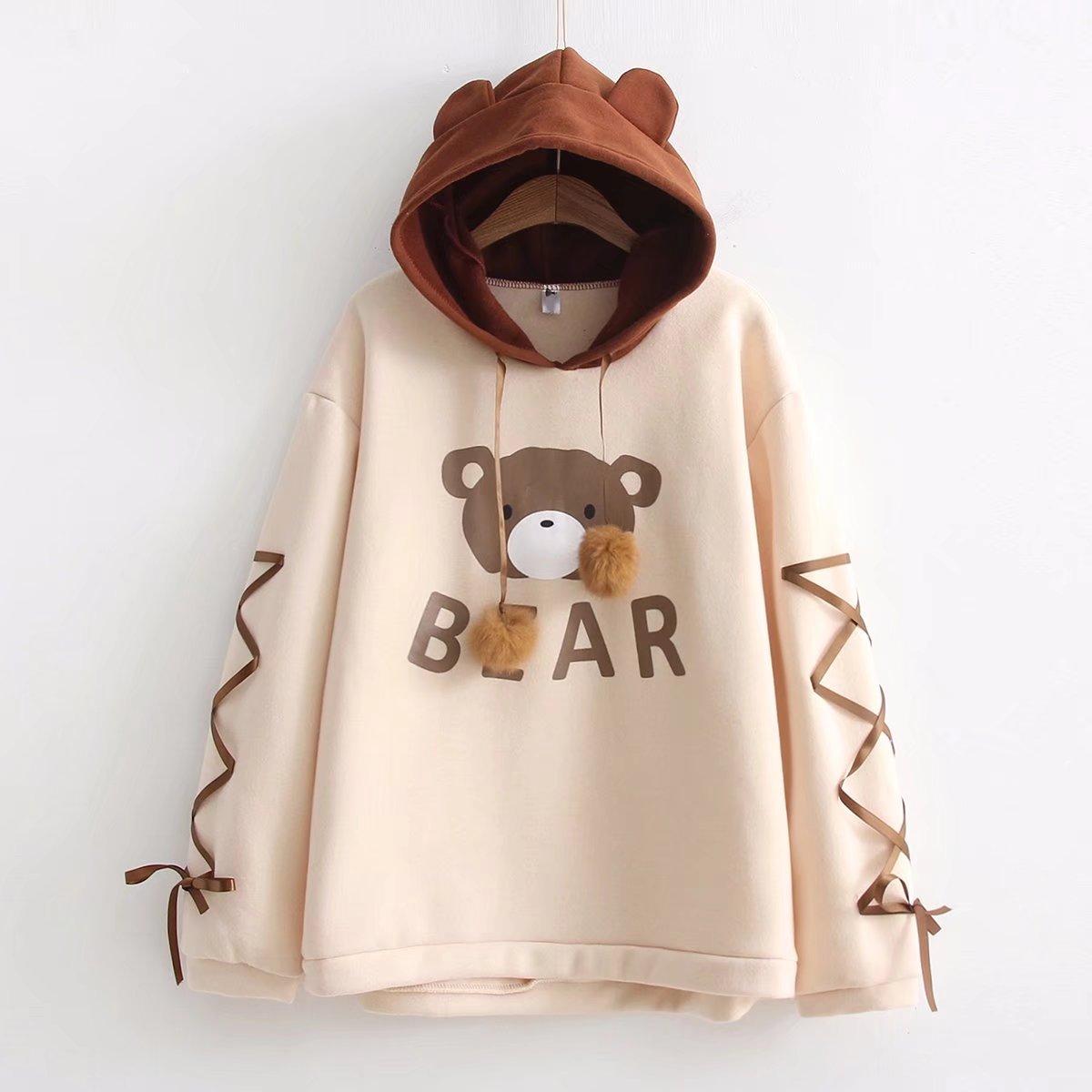 日系软萌妹可爱小熊系带长袖连帽