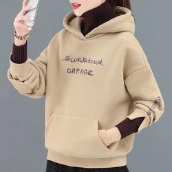 43加绒卫衣女秋冬2020新款假两件高领上衣韩版宽松加厚连帽外套