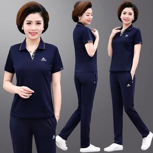 中老年运动女 短袖 套装 大码 31妈妈夏装 t恤阔太太两件套2020新款