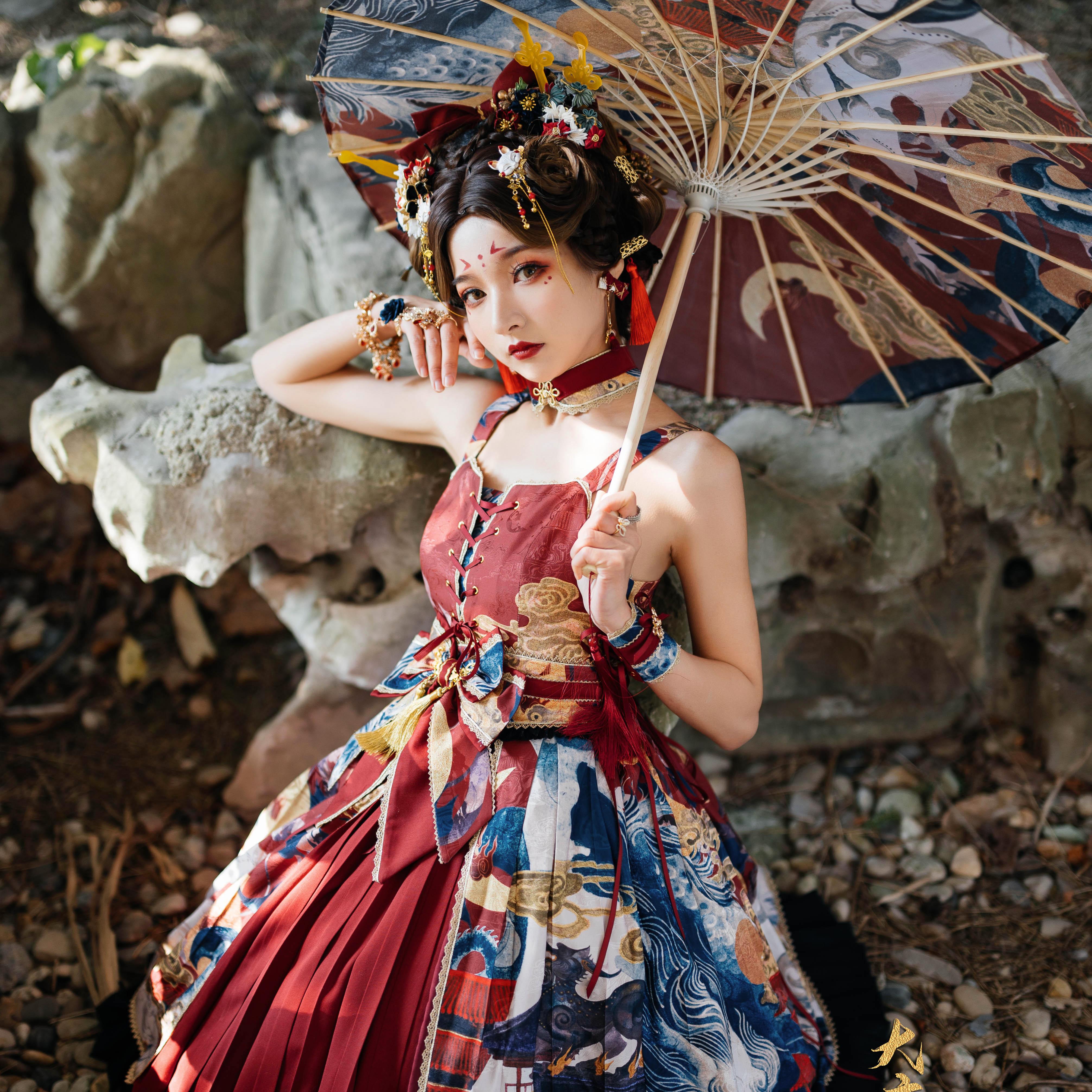 Star cat original design Chinese style Lolita skirt
