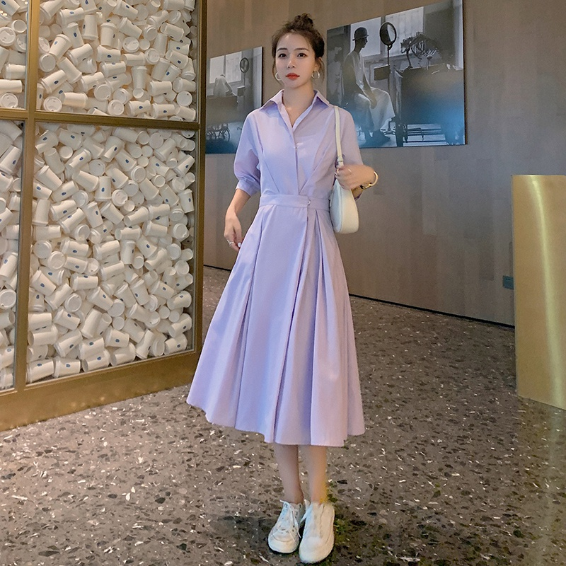 A new dress with lining early autumn 2021 spring dress shows thin waist and simple commuter solid color shirt
