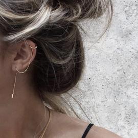 耳钉女纯银防过敏耳夹2020新款潮耳线养耳洞耳链耳骨耳环一体耳饰图片