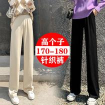 高个子175针织拖地裤女秋冬170加长版宽松高腰垂感直筒阔腿裤超长