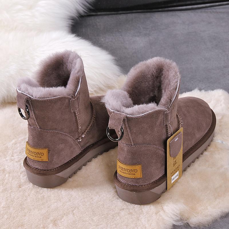 雪地靴女短筒2020新款真皮东北冬季加绒加厚保暖防滑皮毛一体棉鞋