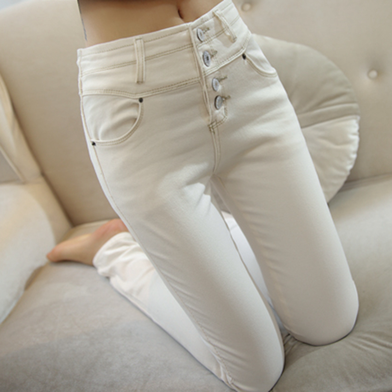South Korea 2021 spring new white high waist quarter jeans womens elastic Slim Skinny leggy pants