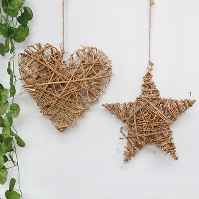 欧式田园创意个性藤编壁饰圣诞节小挂件家居软饰墙上墙面装饰品