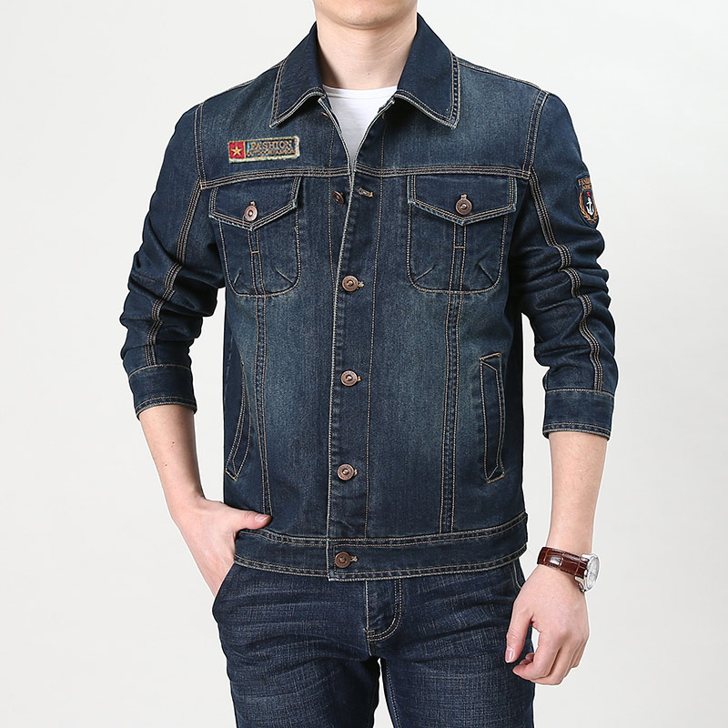 Jeep shield spring and autumn new jeans jacket mens short pilot jacket autumn large winter long sleeve autumn wear