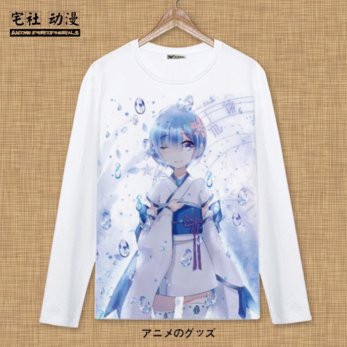 re從零開始的異世界生活周邊長袖蕾姆拉姆二次元衣服男女動漫T恤