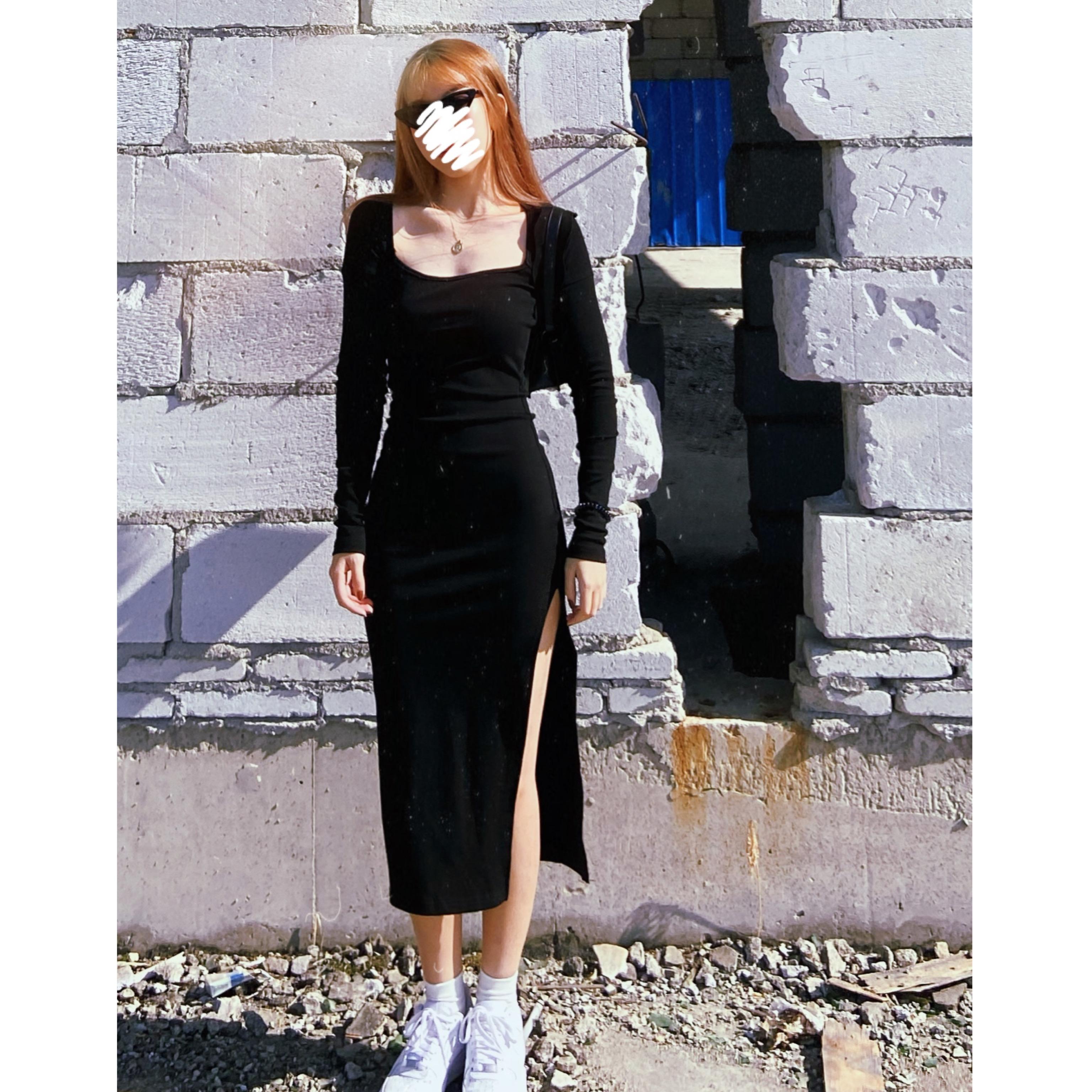 自制 超显身材辣妹显瘦紧身开叉针织连衣裙欧美长裙小黑裙方领潮