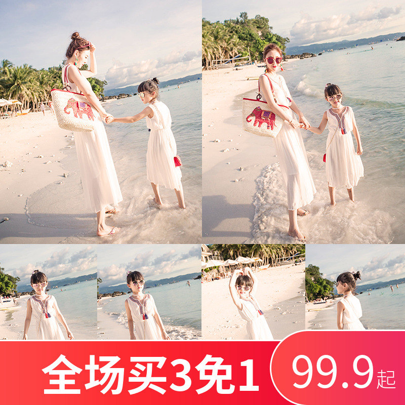 沙滩裙亲子装夏装2019新款潮母女装连衣裙长裙洋气海边度假全家装