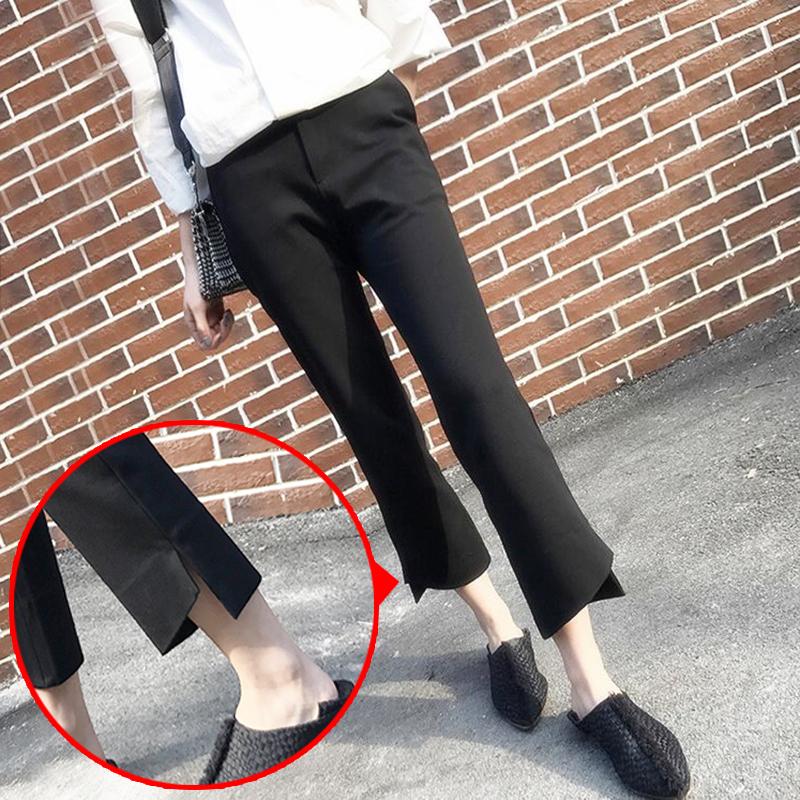 200斤胖妹妹新款韩版大码女装微喇西装裤 胖mm九分显瘦阔腿休闲裤