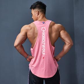 潮男健身坎肩宽松无袖工字跑步运动背心健身衣服男训练服速干上衣