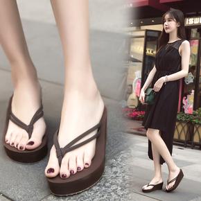 厚底坡跟双带高跟人字拖女外穿夹脚拖鞋沙滩拖松糕防滑凉拖鞋
