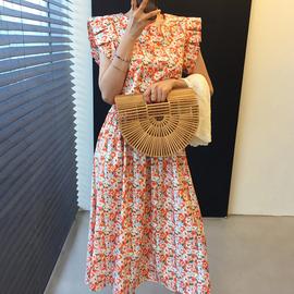 韩国chic甜美小清新碎花压褶收腰显瘦过膝长款飞边无袖连衣裙女