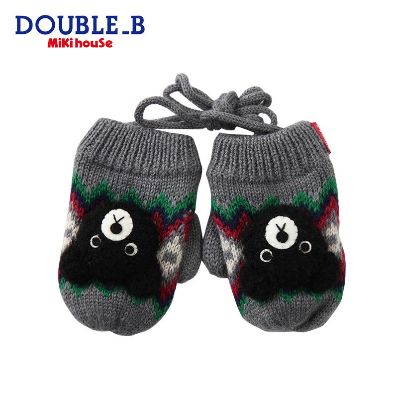 Mikihouse Double_B мальчиков и девочек, осень и зима перчатки теплый хорошенький медвежата вязание перчатки осень коллекция товары