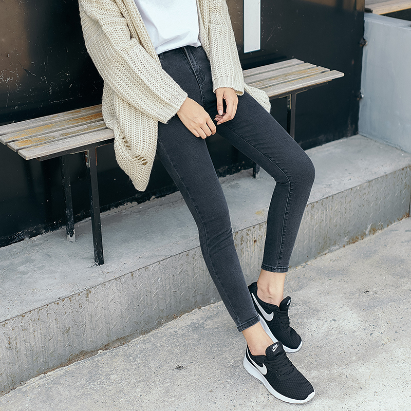 2017 autumn new high waist smoke grey 9-point jeans womens tight and thin students black small foot pencil pants