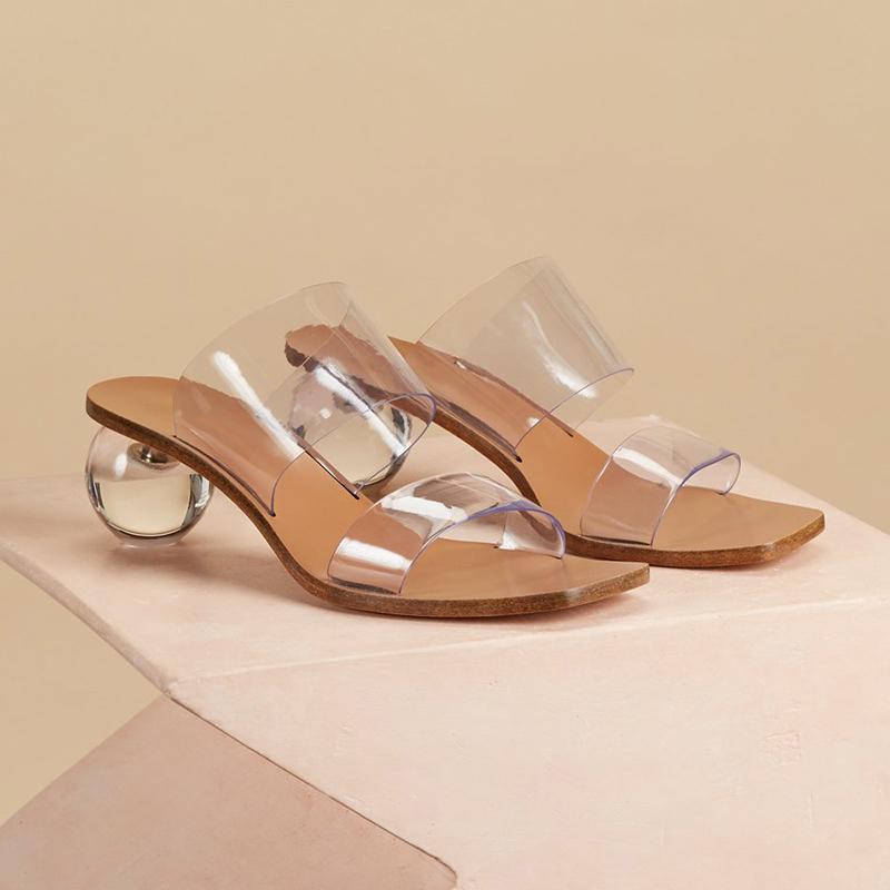 透明凉鞋女仙女风2020新款夏网红凉拖水晶跟高跟粗跟方头拖鞋外穿