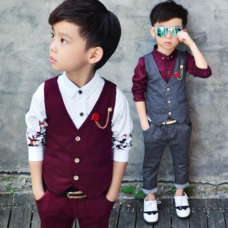 童装春秋装新款男童西装套装儿童马甲衬衫三件套花童婚礼服表演服